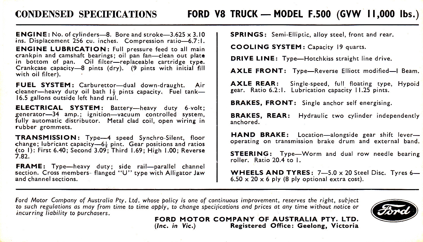 1955 Ford F100 Freighter Postcard Specifications Full Size Image