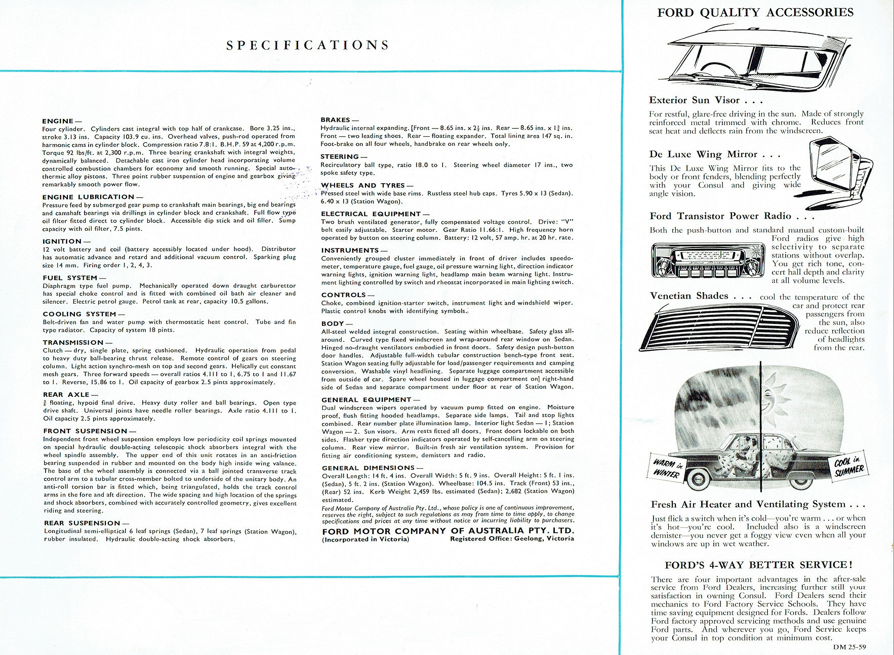 1960 Ford Consul Mkii Brochure 4 Way Switch Internal Full Size Image