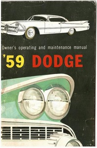 1959 dodge owners manual rh oldcarbrochures com 1963 Dodge 1959 Plymouth